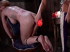 Spanking, hair pulling & dick sucking makes submissive Satin Bloom want more
