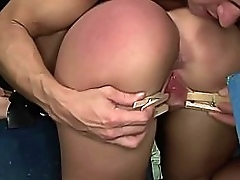 Submissive Gina shackled, face slapped, whipped well, and her throat fucked deeply and roughly. Part 1.