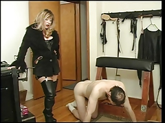 Bit of crumpet Cristian spanking the brush slave dude
