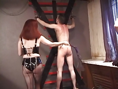 Really mean bondage chicks in latex paddler bound guy's ass