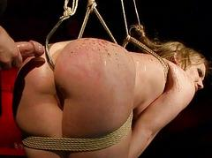 Naughty flaxen-haired getting bondaged and fucked