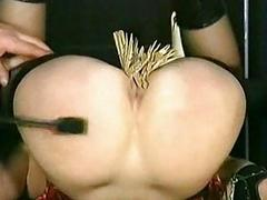 Beautiful young slave got wooden clamps on say no to pussy coupled with got