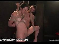 Bondage brunette babe gives deep fucking from disavow