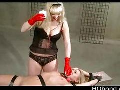 Strapped on wooden device gal gets waxed coupled with whipped