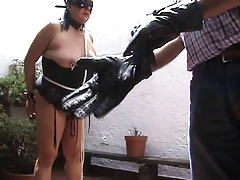 Ghoul glove and flogger on tits