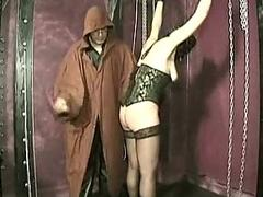 Master hits pussy of tied slave with a whip and spread their way p