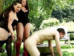 Very chubby bitches fuck a gardener outdoor