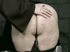Specialist priest pulls skirt up coupled with panties down coupled with spanks nau