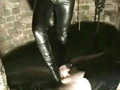 Dirty slave jerkingoff while beautiful mistress hits and bu