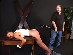 Hottie with a for detail rack spanked by her master