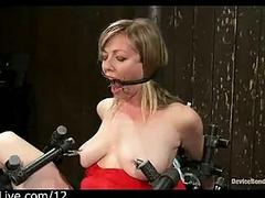 Bound with legs spread babe gets toyed