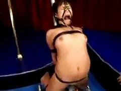 Shorthaired girl tied close to different positions pussy stimulate