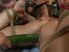 Hot girl gets tied more with the addition of anal fucked
