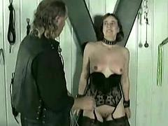 Mature slave gets hits on their way pussy and pulled on their way nipple