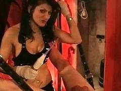Mistress all round obese tits puts rope aroud balls of slave together with el