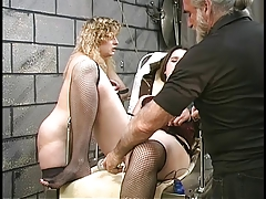 Cute thick lesbian bdsm girls with hairy bushes play the part with vibrators in basement