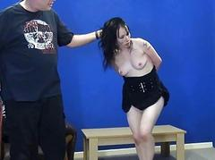 Sex slaves submission and rough blowjob of Fae