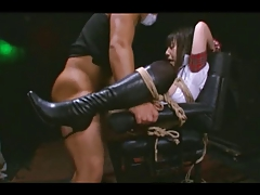 Two japanese girl secured up rough sex in a chair
