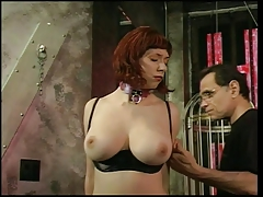 Big tits redhead gets her boobs felt by her versed