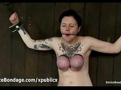 Chained to wall ruby fucks sybian