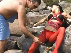 Bianca treated as a bondage kinky slave