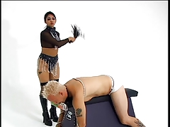 Hot mistress teasing her slave