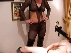 Mistress fucks slave-girl with the help of bonking machine