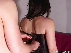 Leashed guy foot worship with wife
