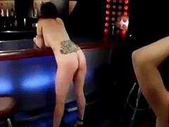 Busty girl spanked whipped by shake out in the bar