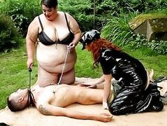Extremely huge BBW dommies in femdom action