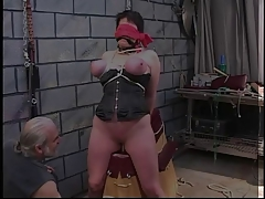 Rebecca is made to sit primarily dildo measurement blind-folded, bound and gagged.