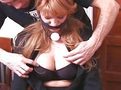 Slave gagged with the addition of pussy whipped