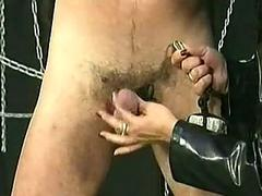 Dirty underling gets chain around his balls with regard to heavy stones and