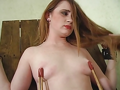 Flaxen-haired mistress spanks ass and clamps pink pussy