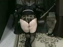Horny nun is kneeling coupled with bend over a chair coupled with is spanked o
