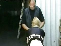 Horny blond slave tied in warehouse with say no to panties down ge