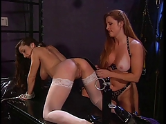 Hot babe dildo fucks the redhead slave
