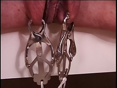 Mature big tits black-hearted in red latex, bound & enjoying her BDSM session