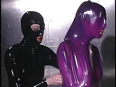 Purple latex duteous whipped on table
