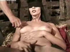 Blind folded waiting upon finger fucks herself while one master pul