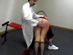 Girl turning up in the first place a doctor lap getting her ass spanked yon red
