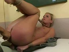 Teacher getting bondaged and fucked