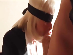 Blindfolded, bound & blow