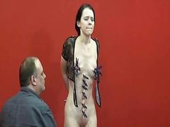 Teen painslut punished and whipped in the dungeon