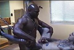 Interracial BDSM orgy far irritant fucking together far pissing