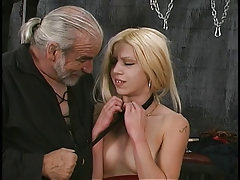 Bondaged blonde hottie changes foreign ceiling and displays her open pussy