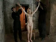 Tiny blonde is bound and whipped