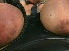 Golden slave with big tits gets their way tits tied together with r