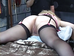 Busty, mature kirmess gets her irritant whipped in the lock-up