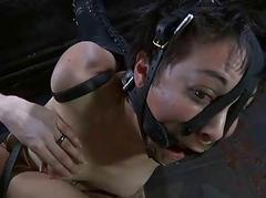 Muzzled babe in arms needs dropped taming